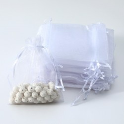 100 bourses cadeaux organza couleur blanche 10x11cm - 7002
