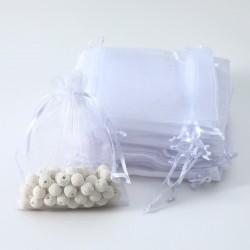 100 bourses cadeaux organza blanches refermables 14x20cm - 7005