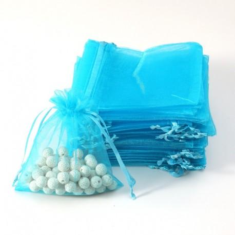 100 petites bourses cadeaux en organza de couleur bleu turquoise 5x5cm - 7075