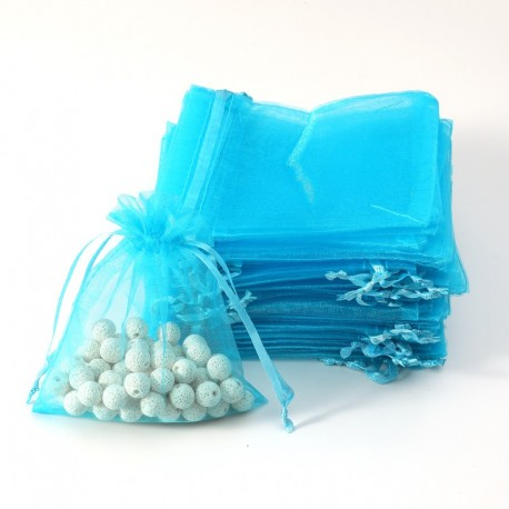 100 grandes bourses organza de couleur bleu turquoise 20x30cm - 7082