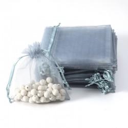 100 petites bourses cadeaux en organza de couleur gris argenté 5x5cm - 7007