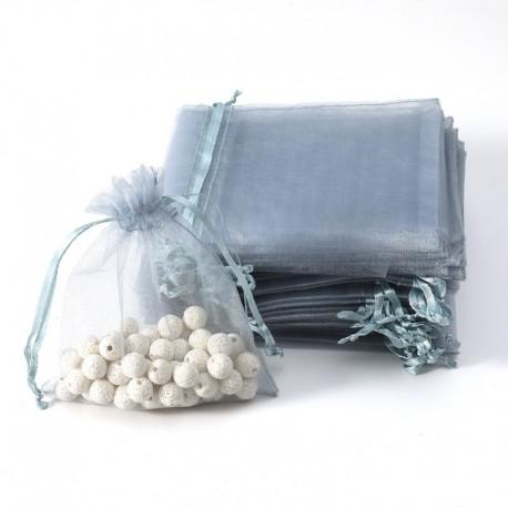 100 bourses cadeaux organza gris argenté refermables 14x20cm - 7012