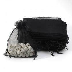 100 bourses cadeaux organza noires refermables 14x20cm - 7019