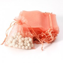 100 petites bourses cadeaux en organza de couleur orange saumon 5x5cm - 7107