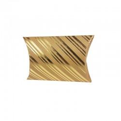 12 petites boîtes berlingot kraft motifs rayures dorées 10x14x3cm - 9799