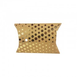 12 petites boîtes berlingot kraft motifs pois dorés 10x14x3cm - 9800