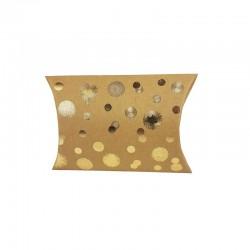 12 petites boîtes berlingot kraft motifs points dorés 10x14x3cm - 9801