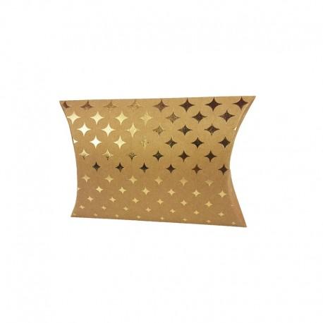 12 petites boîtes berlingot kraft motifs étoiles scintillantes dorées 10x14x3cm - 9802
