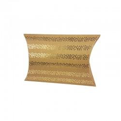 12 petites boîtes berlingot kraft motifs rayures de pois dorés 10x14x3cm - 9803