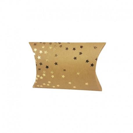 12 petites boîtes berlingot kraft motifs nuée d'étoiles dorées 10x14x3cm - 9804