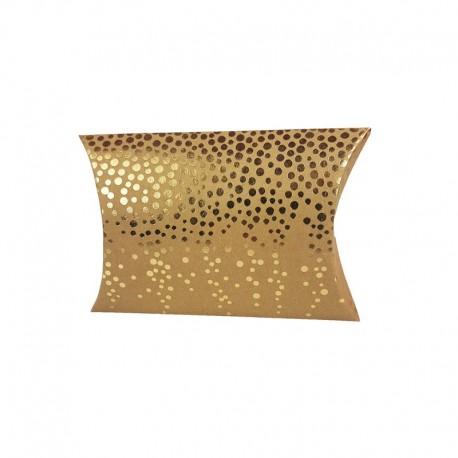 12 petites boîtes berlingot kraft motifs petits pois dorés 10x14x3cm - 9805