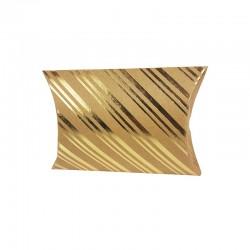 6 pochettes berlingot kraft motif rayures dorées 13x20x5cm - 9807