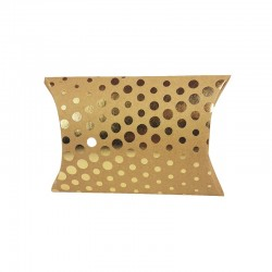 6 pochettes berlingot kraft motif pois dorés 13x20x5cm - 9808