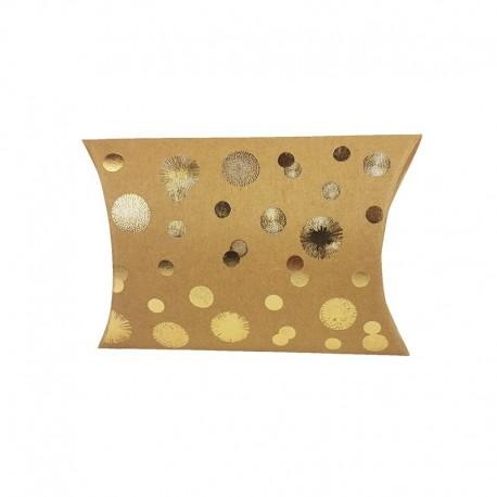 6 pochettes berlingot kraft motif points dorés 13x20x5cm - 9809