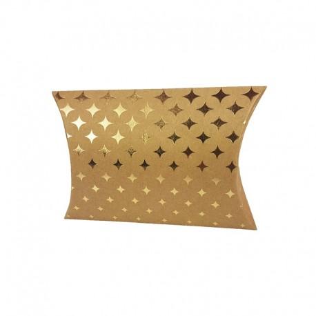 6 pochettes berlingot kraft motif étoiles scintillantes dorées 13x20x5cm - 9810