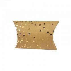 6 pochettes berlingot kraft motif nuée d'étoiles dorées 13x20x5cm - 9812