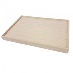 Lot de 5 plateaux pour bagues en coton beige naturel - 9507x5