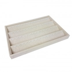 Lot de 5 plateaux de présentation pour pendentifs en coton beige - 9506x5