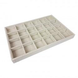 Lot de 5 plateaux gemmologie à petits casiers en coton beige - 9505x5