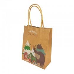 12 petits sacs kraft brun motif ours et sapin de Noël 12x6x14.5cm - 9814