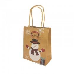 12 petits sacs kraft brun motif Bonhomme de Neige de Noël 12x6x14.5cm - 9816