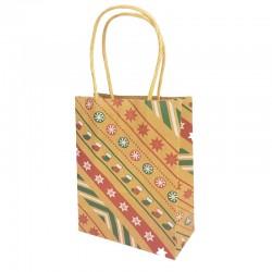 Lot de 12 sacs kraft brun motif chaussons et étoiles de Noël 16x7.5x22cm - 9833