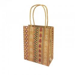 12 petits sacs kraft brun motif Sapins de Noël 12x6x14.5cm - 9830