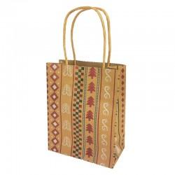 12 grands sacs kraft brun motif sapins de Noël 22x11x27cm - 9835