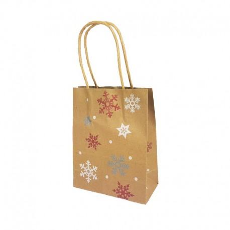 12 petits sacs kraft brun motif flocons et étoiles de Noël 12x6x14.5cm - 9828