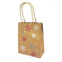 Lot de 12 sacs kraft brun motif flocons et étoiles de Noël 16x7.5x22cm - 9832