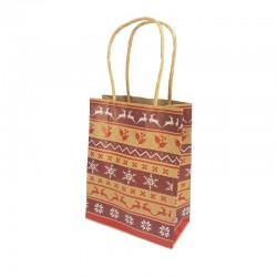12 petits sacs kraft brun motif Rennes de Noël et flocons 12x6x14.5cm - 9827