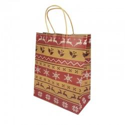 Lot de 12 sacs kraft brun motif Rennes de Noël et flocons 16x7.5x22cm - 9831