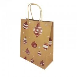 Lot de 12 sacs kraft brun motif boules de Noël 16x7.5x22cm - 9834