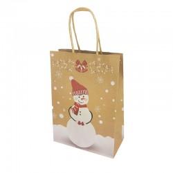12 sacs kraft brun motif Bonhomme de neige et cloches de Noël 16x7.5x22cm - 9819