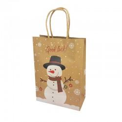 12 sacs kraft brun motif Bonhomme de neige et flocons 16x7.5x22cm - 9820