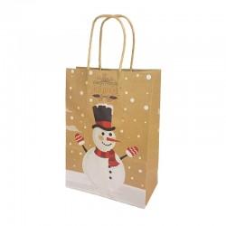 12 sacs kraft brun motif Bonhomme de neige et feuille de houx 16x7.5x22cm - 9821
