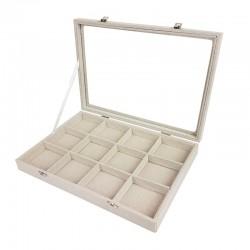 Lot de 5 Mallettes pour bijoux à casiers en coton beige - 9841x5
