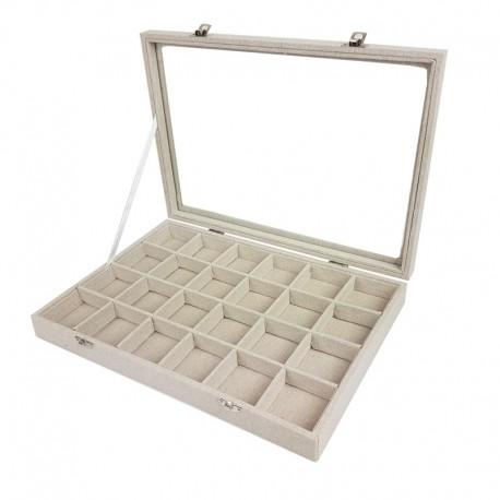 Mallette gemmologie à petits casiers en coton beige - 9840