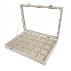 5 mallettes gemmologie à petits casiers en coton beige - 9840x5