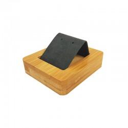 Petit porte boucles d'oreilles simple en bois et suédine gris anthracite - 9856