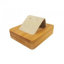 Petit porte boucles d'oreilles simple en bois et coton beige naturel - 9857