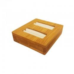 Mini plateau pour 2 bagues en bois et suédine beige - 9872