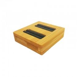 Mini plateau pour 2 bagues en bois et suédine grise - 9873