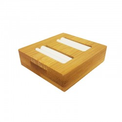 Mini plateau pour 2 bagues en bois et simili cuir blanc - 9875