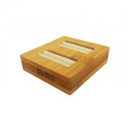 Mini plateau pour 2 bagues en bois et coton beige - 9874