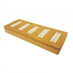 Petit plateau pour 5 bagues en bois et suédine beige - 9876