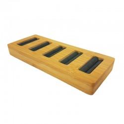 Petit plateau pour 5 bagues en bois et suédine gris anthracite - 9877