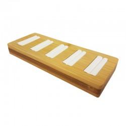 Petit plateau pour 5 bagues en bois et simili cuir blanc - 9879