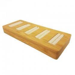 Petit plateau pour 5 bagues en bois et coton beige - 9878
