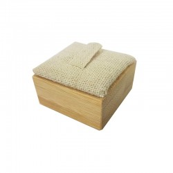 Plot pour bague en bois et en coton beige - 9887